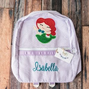 Monogrammed seersucker applique backpack
